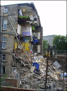 Picture taken by structural engineer Mark Sinclair at the Wilton Street collapse site
